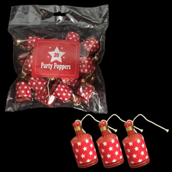 Pack of 20 Red and White Starred Party Poppers