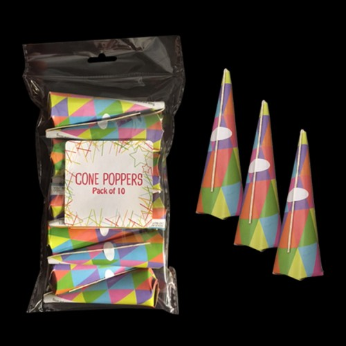 Pack of 10 Multi Coloured Cone Party Poppers