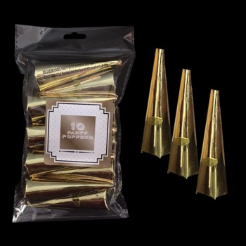 Pack of 10 Gold Cone Party Poppers