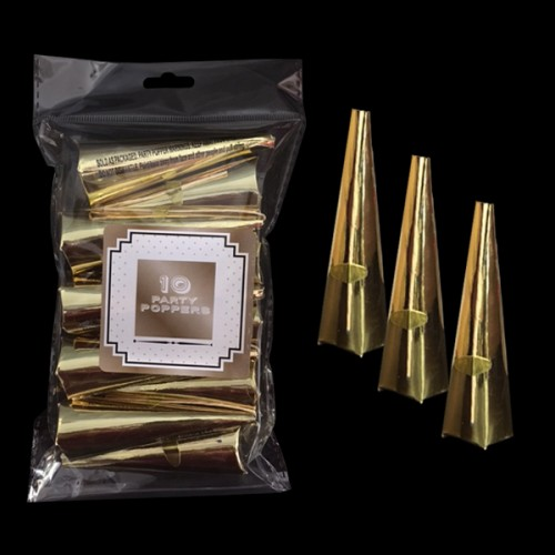 Pack of 10 Gold Coloured Cone Party Poppers