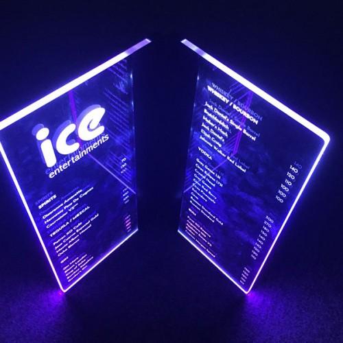 Customised Printed VIP LED Menu